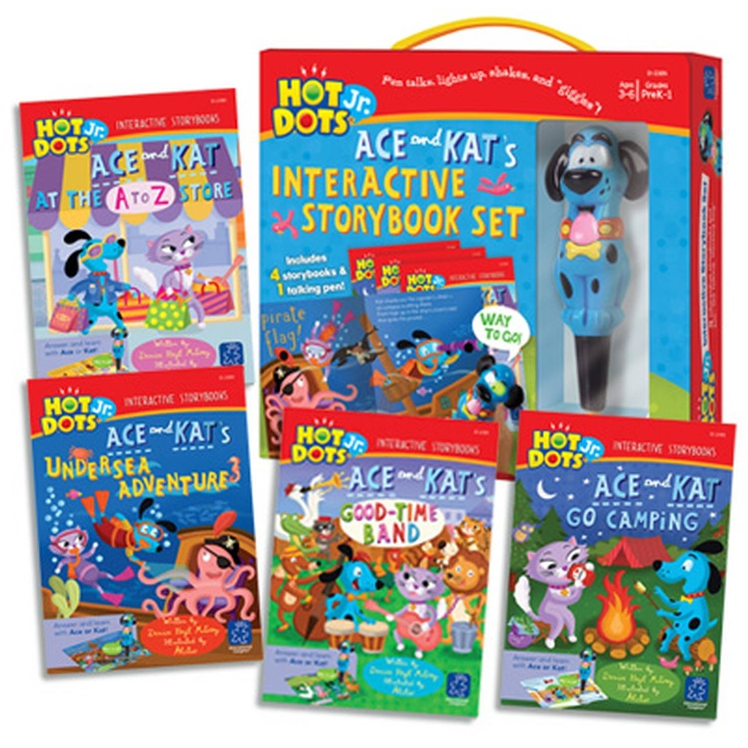 Educational Insights Hot Dots Jr. Interactive Storybooks, 4-Book Set with Ace Pen