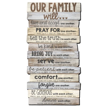 - Lighthouse Christian Products Our Family Will Medium Wall Decor, 8 1/2 x 16 1/2