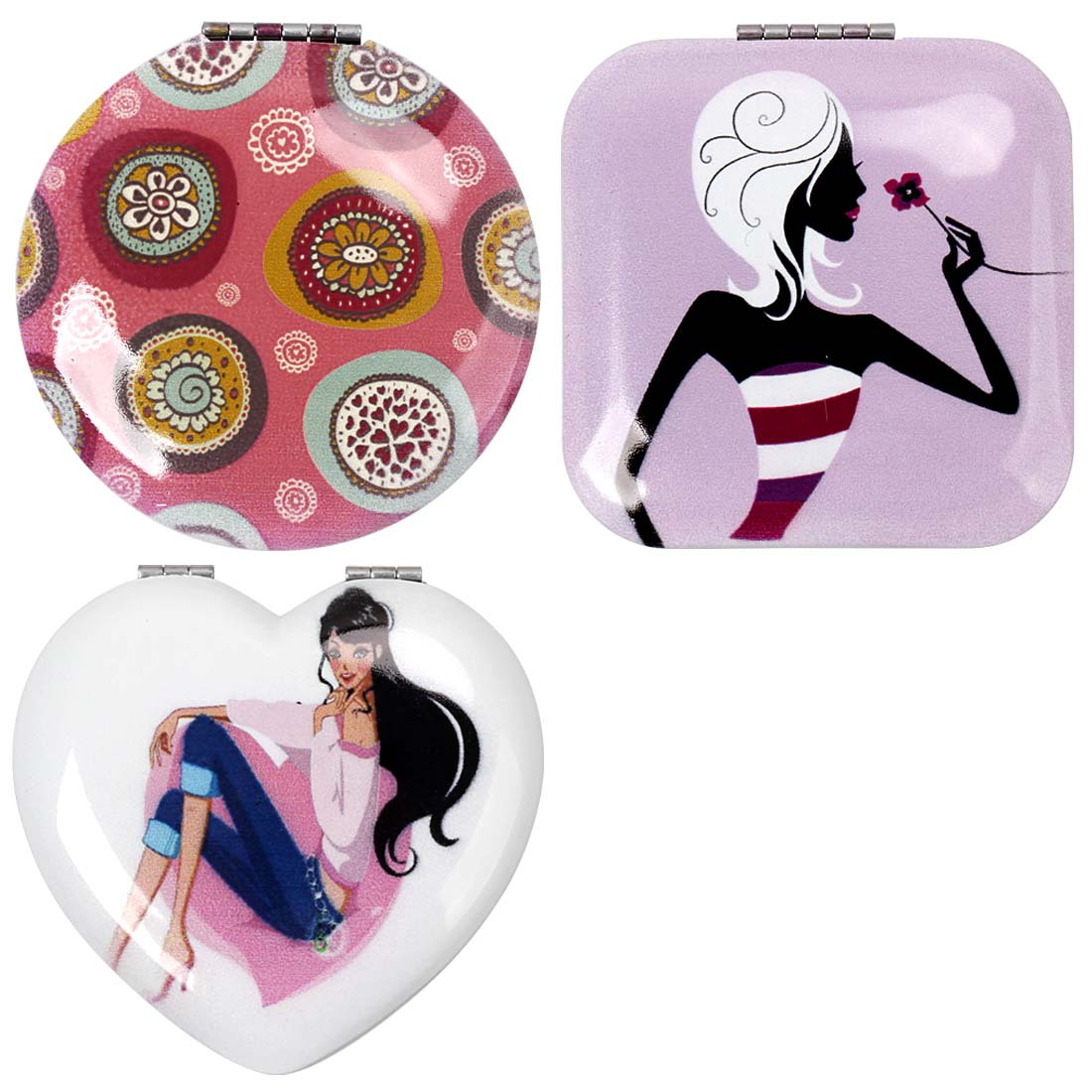 BMC Womens 3 pc Mixed Design Alloy Metal Folding Compact Beauty Makeup Mirrors
