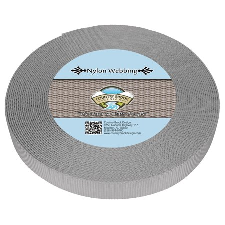- Country Brook Design® 3/4 Inch Silver Heavy Nylon Webbing