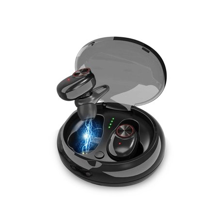 Wireless Earbuds, EEEKit TWS V5.0 Wireless True Bluetooth Earbuds Mini Portable Sweat-Proof Sports Twins Earphones Stereo Bass Headset with Charging Case, Black - Mini Bluetooth Headset