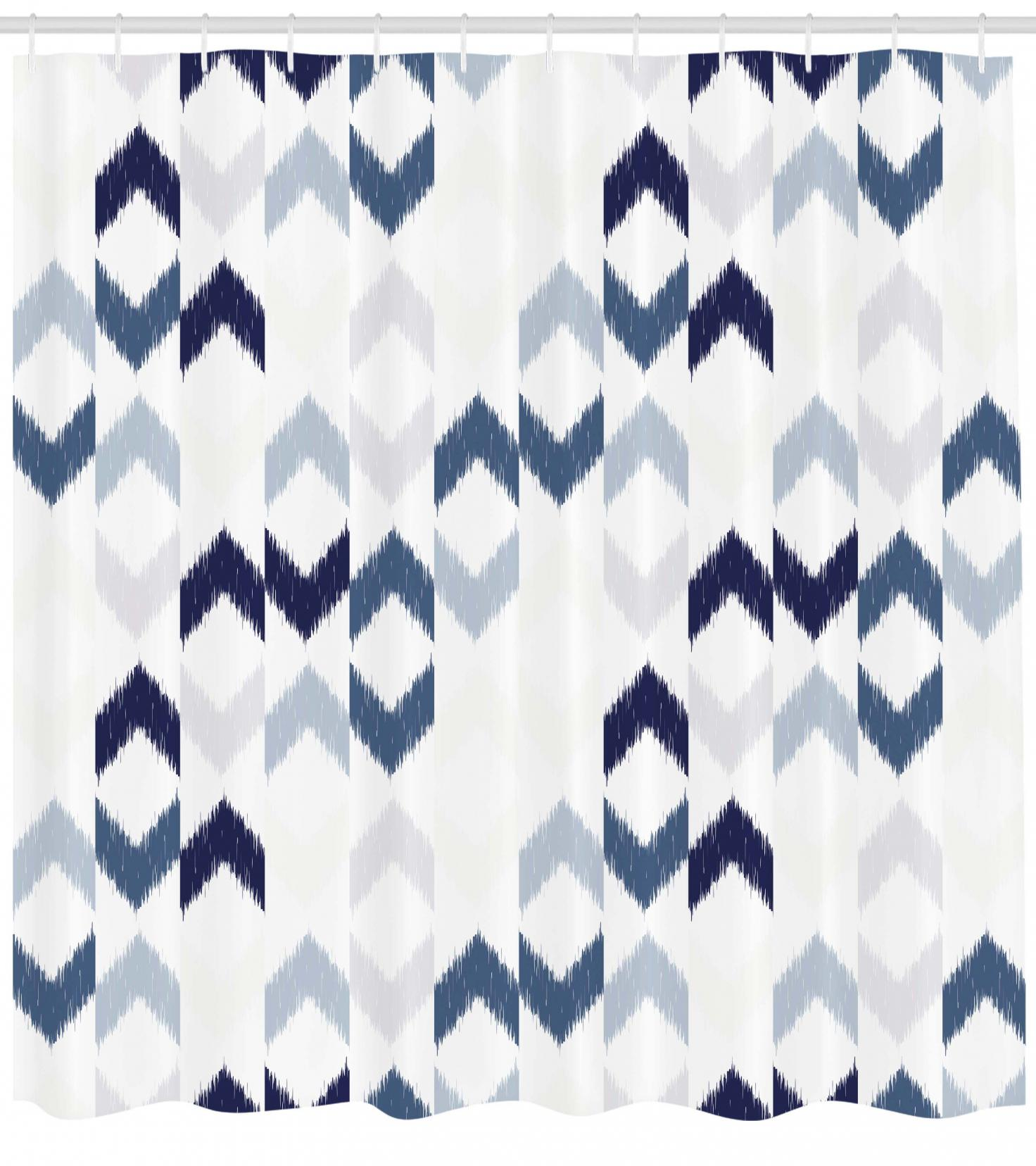 Navy Shower Curtain, Abstract Ethnic Ikat Chevron With