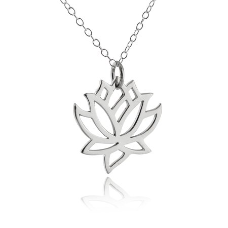 Sterling Silver Lotus Flower Outline Pendant Necklace, 18