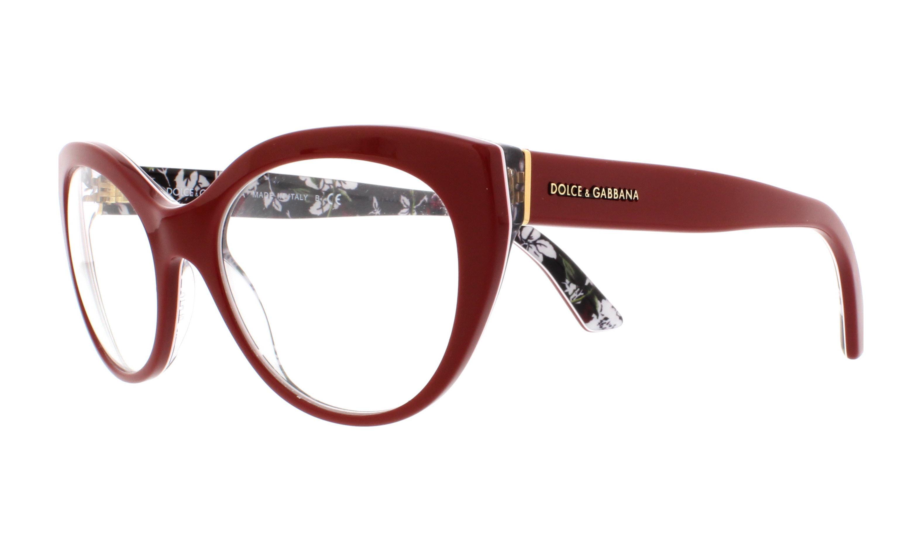 DOLCE & GABBANA Eyeglasses DG 3246 3020 Top Red/Rose Print 51MM ...