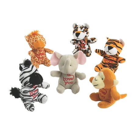 Fun Express - Mini Plush Valentine Characters for Valentine's Day - Toys - Plush - Stuffed Zoo & Safari - Valentine's Day - 12 (Valentine Travel Express)