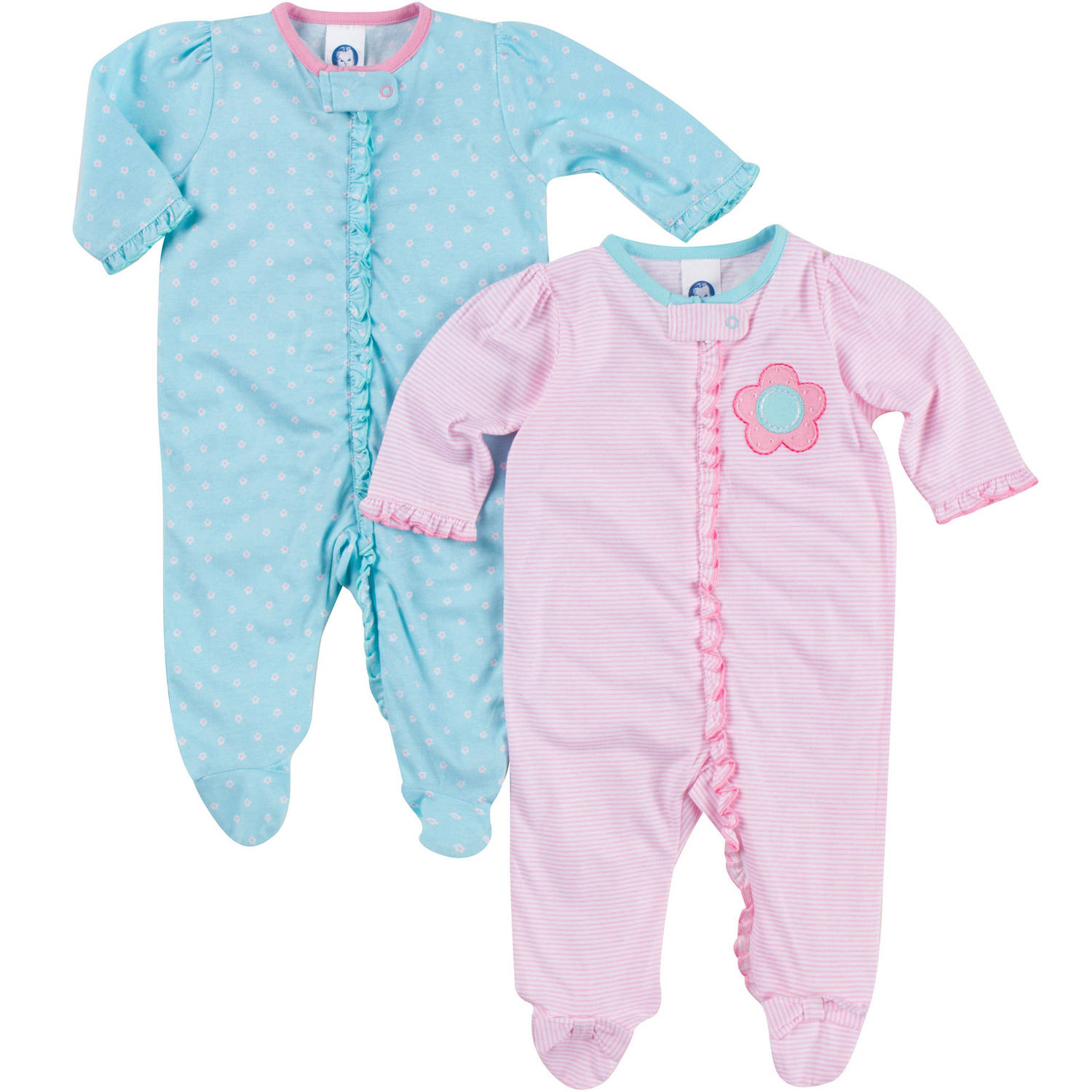 Gerber Newborn Baby Girl Sleep N Play, 2-Pack