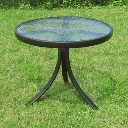 Mainstays Round Outdoor Glass Top Side Table