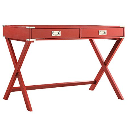 Modern Wood Accent X Base Red Student Computer Writing Office Desk with 2 Drawers