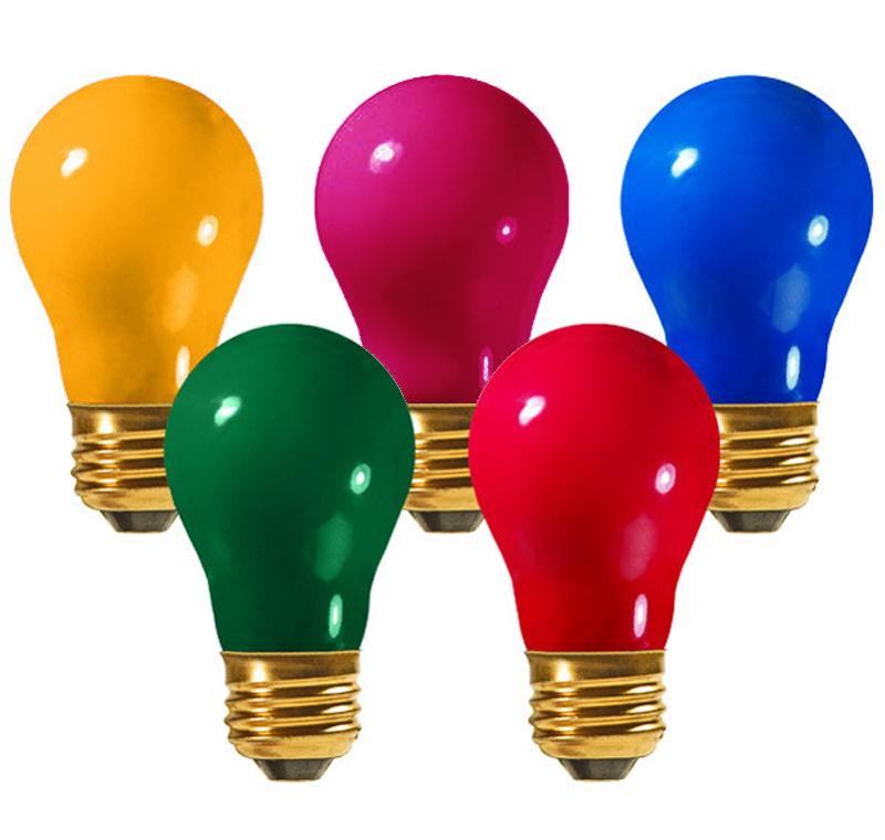 Pack of 25 Opaque Multi Light E26 Base Replacement A19 Light Bulbs - 25W