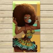 GCKG African Woman Hand Towel,Spa Towel,Beach Bath Towels,Bathroom Body Shower Towel Bath Wrap Size 16x28 inches