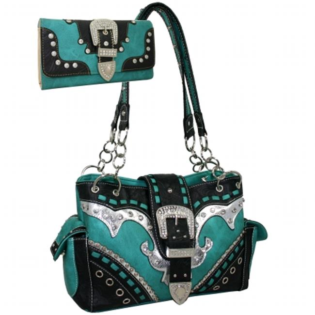 Ritz Enterprises BT939WB139SET-TQ Studded Rhinestone Buckle Western Shoulder Bag Wallet Set, Turquoise