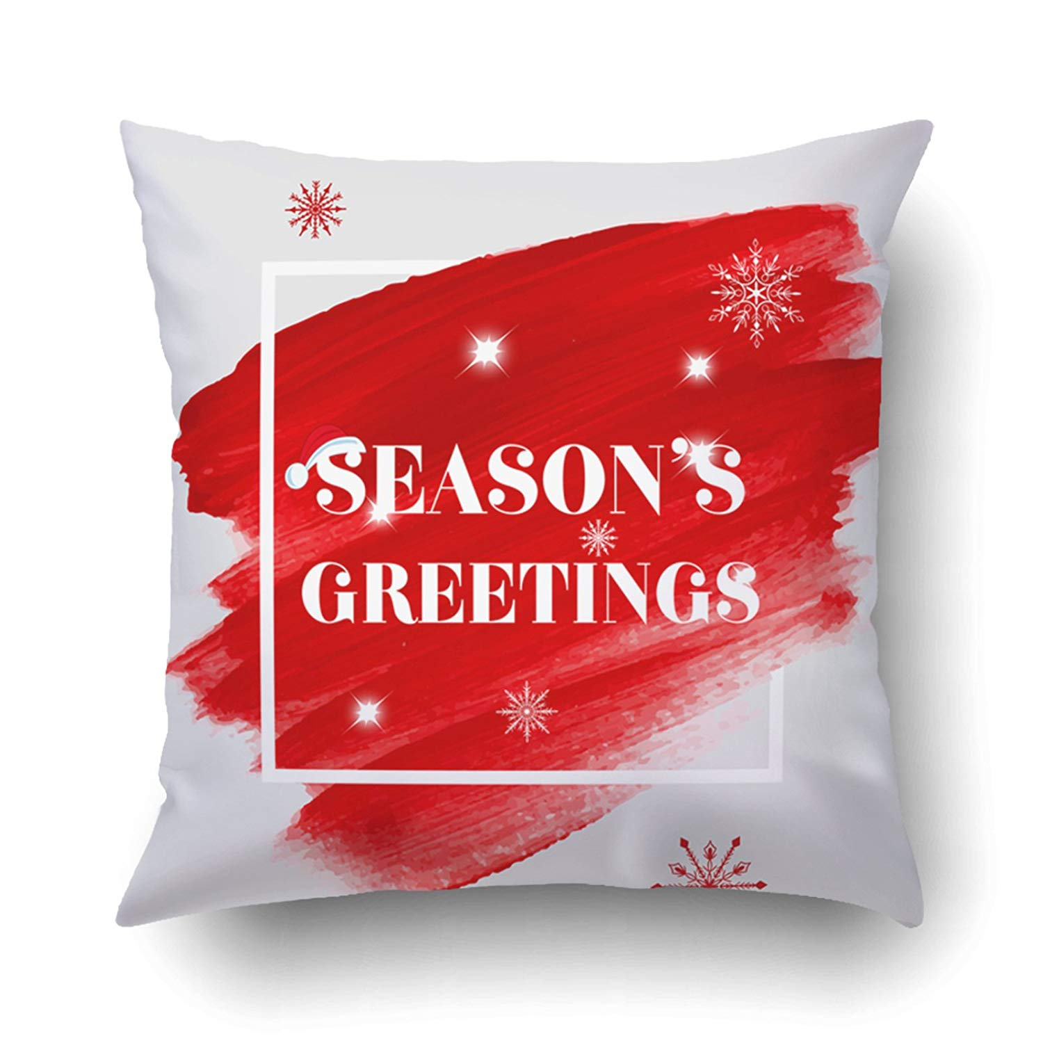 BPBOP Xmas Season Greetings Holiday Sign Text Over Abstract Red Brush Paint Pillow Case Cushion Cover Case Throw Pillow Case 18x18 inches