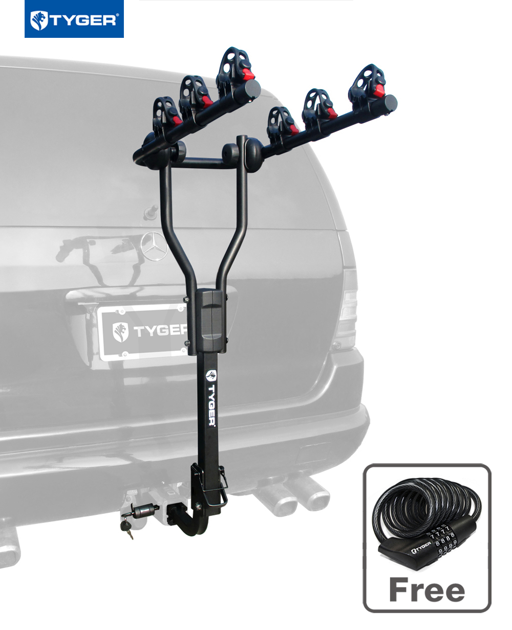 "Tyger Auto TG-RK3B101S 3-Bike Hitch Mount Bicycle Carrier Rack | Free Hitch Lock & Cable Lock | Fits both 1.25"" and... by"