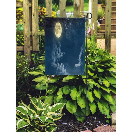 POGLIP Moon Beautiful Magic Blue Night Sky Clouds and Fullmoon Stars Full Fantastic Garden Flag Decorative Flag House Banner 12x18 inch - image 1 of 2
