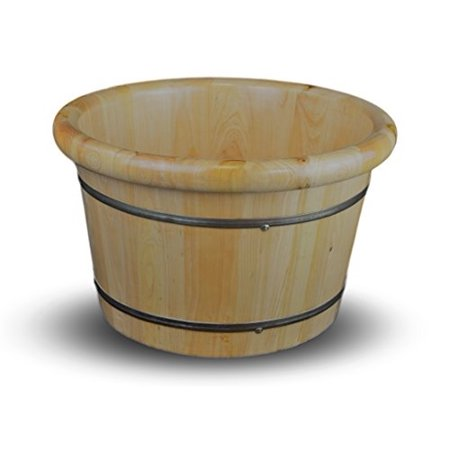 Wood Soaking Tub (Solid Cedar Wood Foot Basin Tub Bucket for Foot Bath, Massage, Spa, Sauna, Soak, 16
