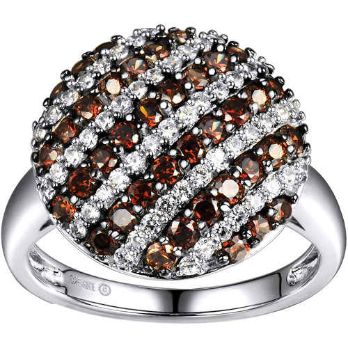 2.05 Carat T.G.W. Brown and White CZ Sterling Silver Round Ring, Size 7