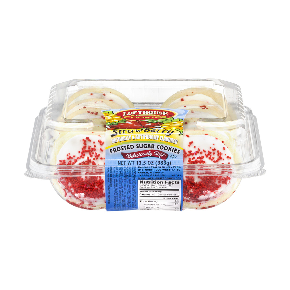 Lofthouse Frosted Sugar Cookies Strawberry, 13.5 OZ