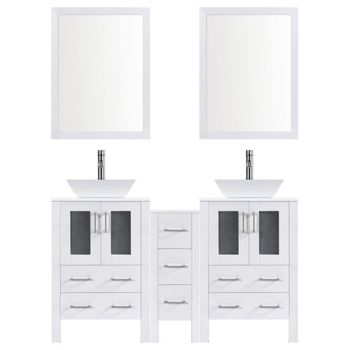 LessCare Modern 84'' Double Bathroom Vanity Set with Mirror