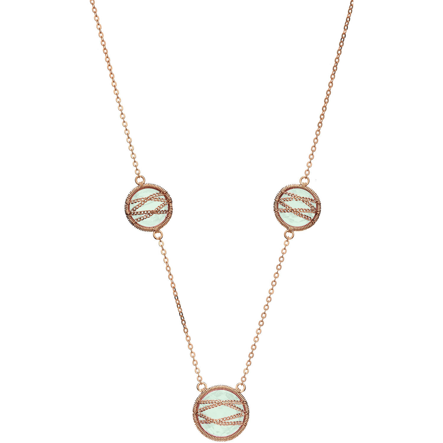 5th & Main Rose Gold over Sterling Silver Hand-Wrapped Triple Round Chalcedony Stone Necklace by Generic
