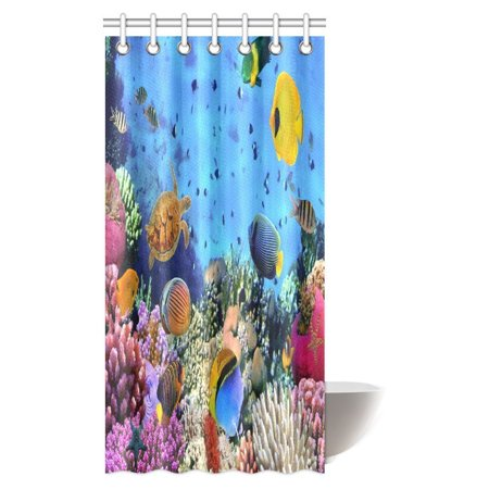 MYPOP Ocean Decor Collection, Tropical and Exotic Coral Reefs Fish School Natural Life in a Shallow Underwater Wild Marine Seascape Bathroom Shower Curtain Set with Hooks, 36 X 72 Inches ()