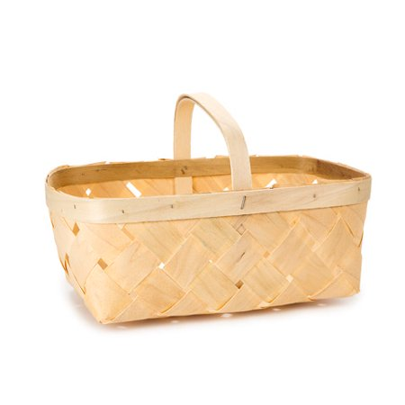 Chipwood Basket with Handle: Wood, Natural, 16 quarts ()