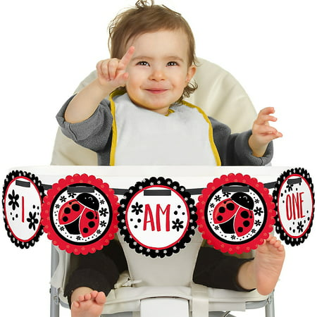 Modern Ladybug 1st Birthday - I Am One - First Birthday High Chair Banner](Lady Bug Birthday)