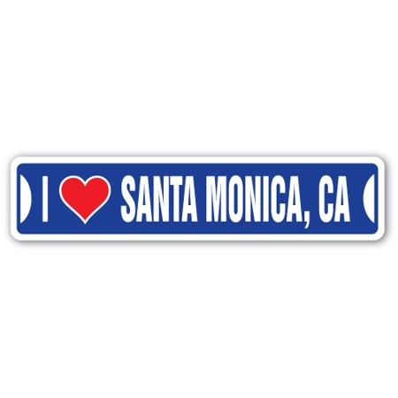 I LOVE SANTA MONICA, CALIFORNIA Street Sign ca city state us wall road décor