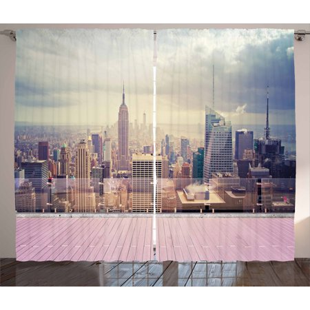 Apartment Balcony Halloween Decorations (Modern Decor Curtains 2 Panels Set, New York City Usa Landscape from Roof Apartment Balcony Photo Image, Window Drapes for Living Room Bedroom, 108W X 90L Inches, Grey White and)