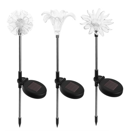 3 Pack Solar LED Lights Outdoor Garden Stake Lights for Lawn Patio Backyard Multicolor Changing Dandelion + Lily + (Lighted Lawn Stakes)