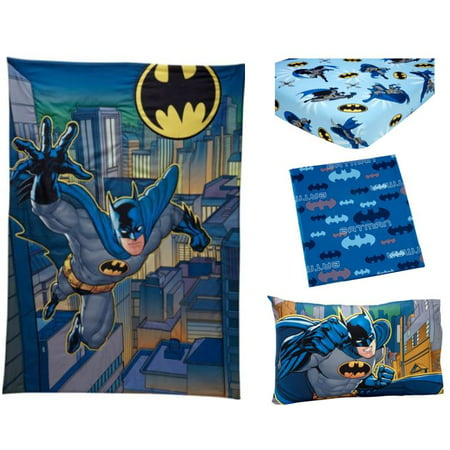 Warner Bros Batman 3 Piece Toddler Bedding Set With Bonus Matching Pillow Case