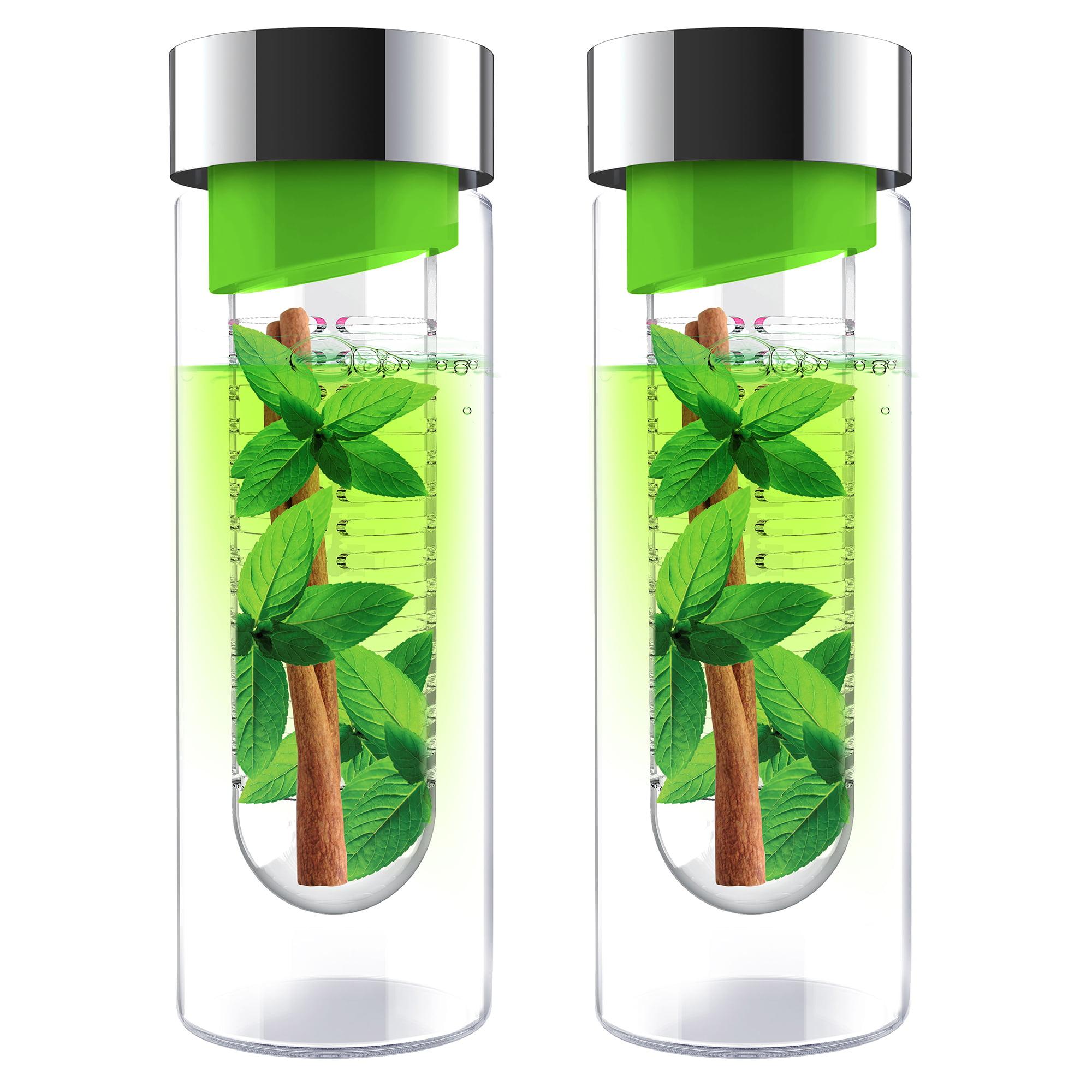 ASOBU Flavor It Glass Water Bottle (Green/Silver), 2 Pack