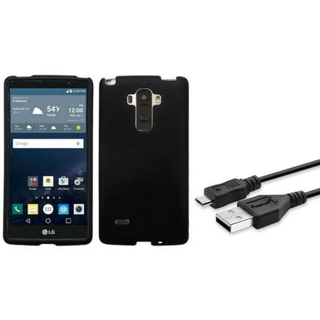 Insten Hard Rubber Case For LG G Stylo - Black (+USB Cable)
