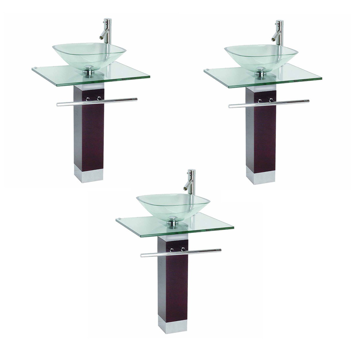 Tempered Glass Pedestal Sink Chrome Faucet Towel Bar And Drain Combo Set Of  3