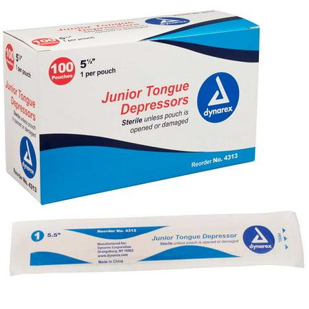"Dynarex Tongue Depressors Sterile Junior 5.5"" (100/Pack)"