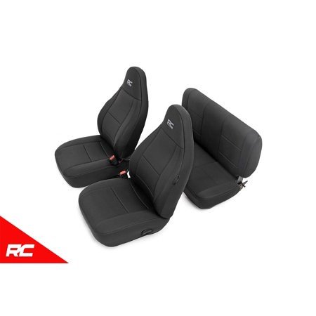 Rough Country Neoprene Seat Covers Black compatible w/ 1997-2002 Jeep Wrangler TJ (Set) Custom Fit Water Resistant