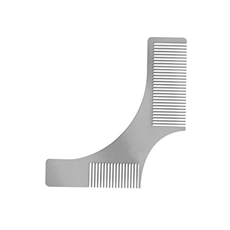 Stainless Steel Beard Comb Beard Shaping Brush Beard Styling Comb Template Grooming Kit Facial Hair Trimmer for Jaw Line Cheek Neck (Jaw Line Shapes)