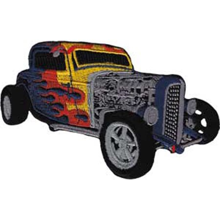 Flamed Hot Rod (Patch - Automoblies - Blue Hot Rod with Flames Iron On Gifts New Licensed p-3825 )