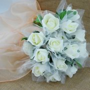 Quasimoon Beige/Ivory 8-Rose Realistic Crafting Floral Wedding Bouquet w/ Tulle by PaperLanternStore