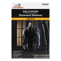 Way to Celebrate Halloween Animated Slashing Reaper, 36 inch Tall, black and grey cloak