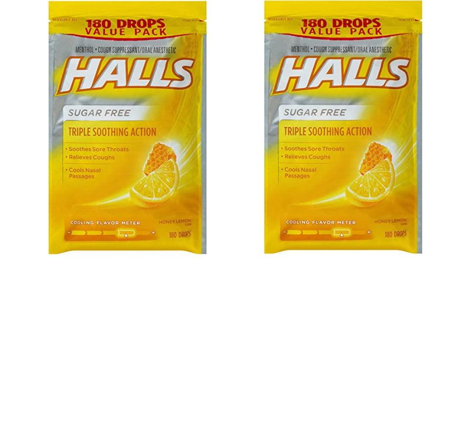 HALLS Sugar-Free Cough Drops, Honey Lemon, 2 Pack Of 180 Count Honey-Lemon 360 Drops