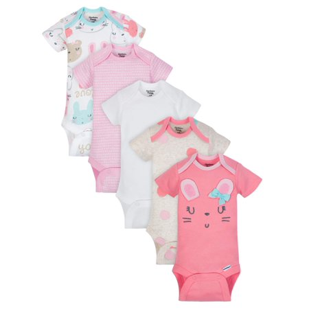 Gerber Organic Cotton Short Sleeve Onesies Bodysuits, 5pk (Baby Girls)