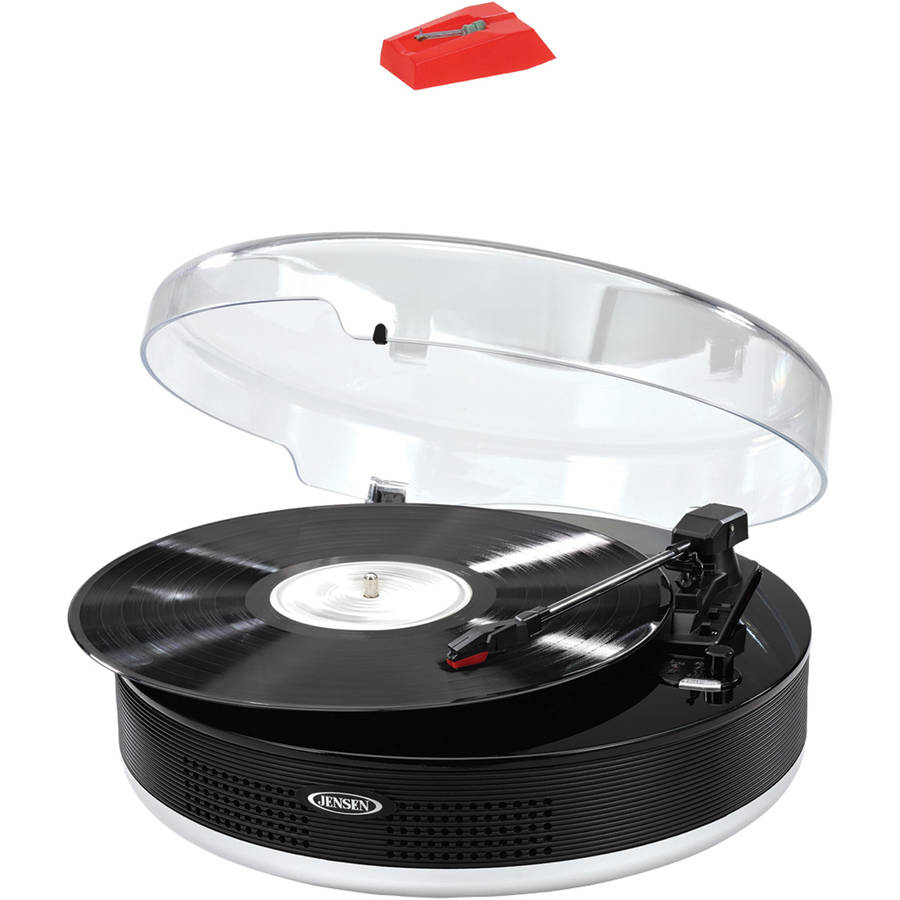 Jensen Jta-455 Bluetooth 3-Speed Stereo Turntable with Metal Tone Arm and Jensen JTA222NDL Turntable Needle