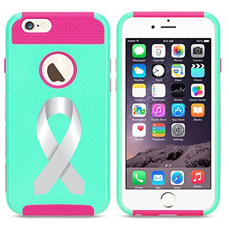 For Apple (iPhone 8) Shockproof Impact Hard Soft Case Cover Diabetes Brain Cancer Parkinson's Disease Lung Cancer Color Awareness Ribbon (Light Blue-Hot Pink) (Diabetes Awareness Color)