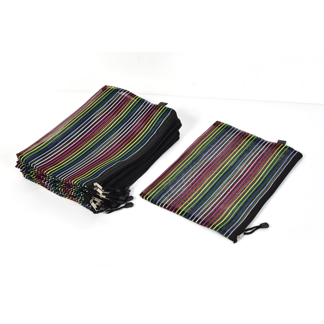 Unique Bargains Stationery Rainbow Style Stripes Pattern Mesh A4 Zipper File Bag Folder 12pcs