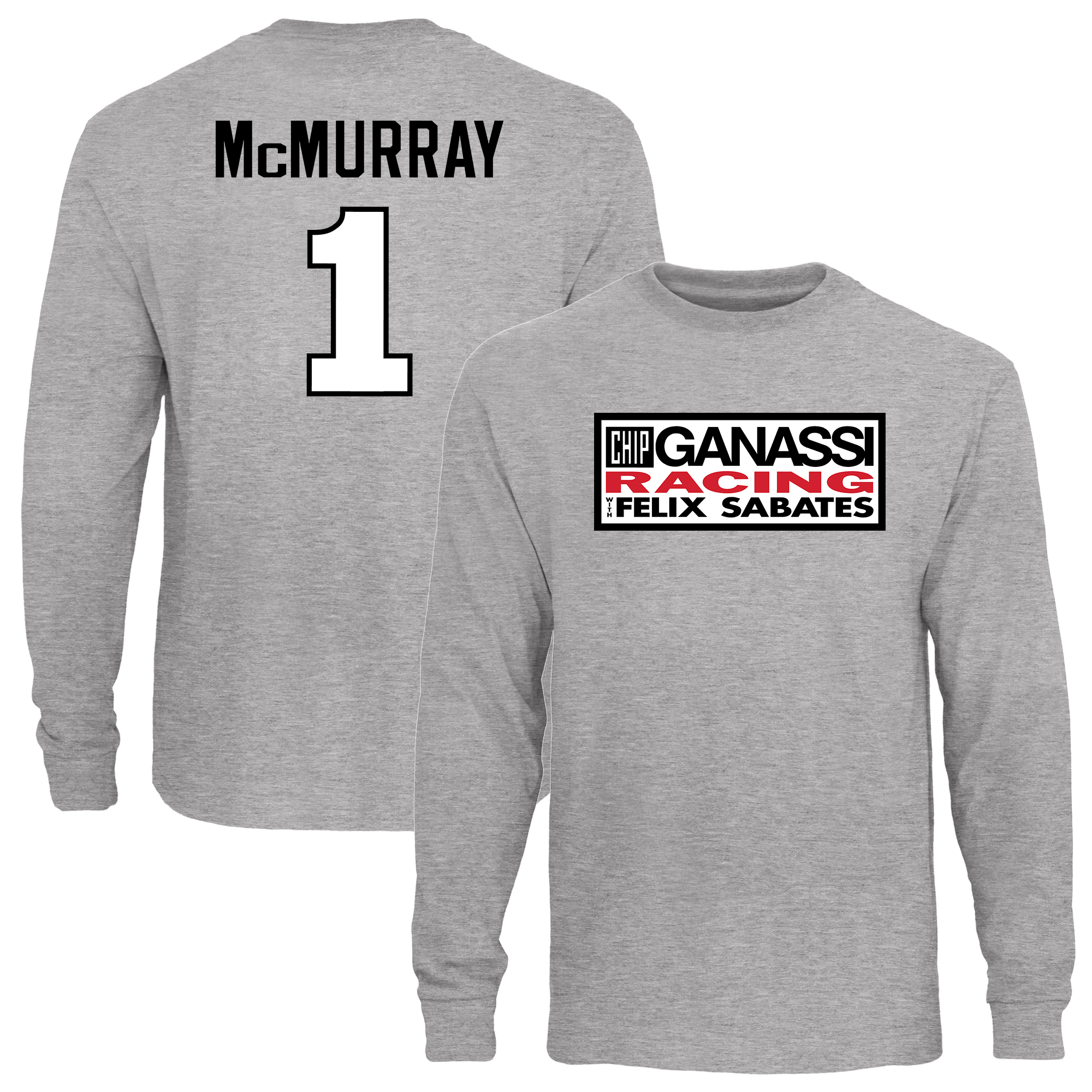 Jamie McMurray Driver Name & Number Long Sleeve T-Shirt - Ash