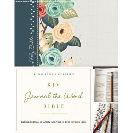 KJV, Journal the Word Bible, Hardcover, Green Floral Cloth, Red Letter Edition : Reflect, Journal, or Create Art Next to Your Favorite