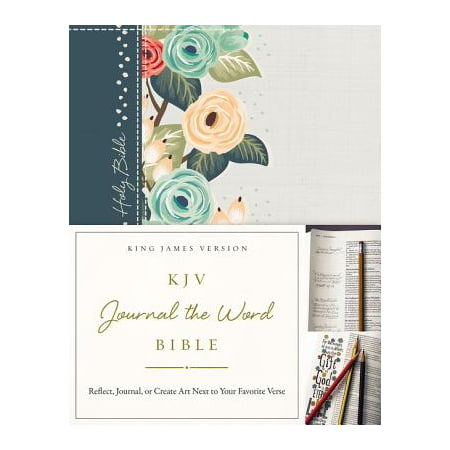 KJV, Journal the Word Bible, Hardcover, Green Floral Cloth, Red Letter Edition : Reflect, Journal, or Create Art Next to Your Favorite Verses