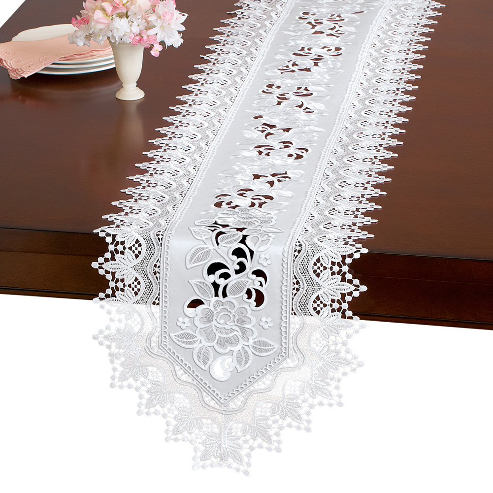 Elegant Floral Rose And Lace Embroidered Table Linens, Runner, White by Collections Etc
