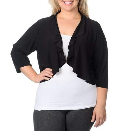 r&m richards women's plus size 1 piece stretch cover up with a ruffle, black, 2x ()