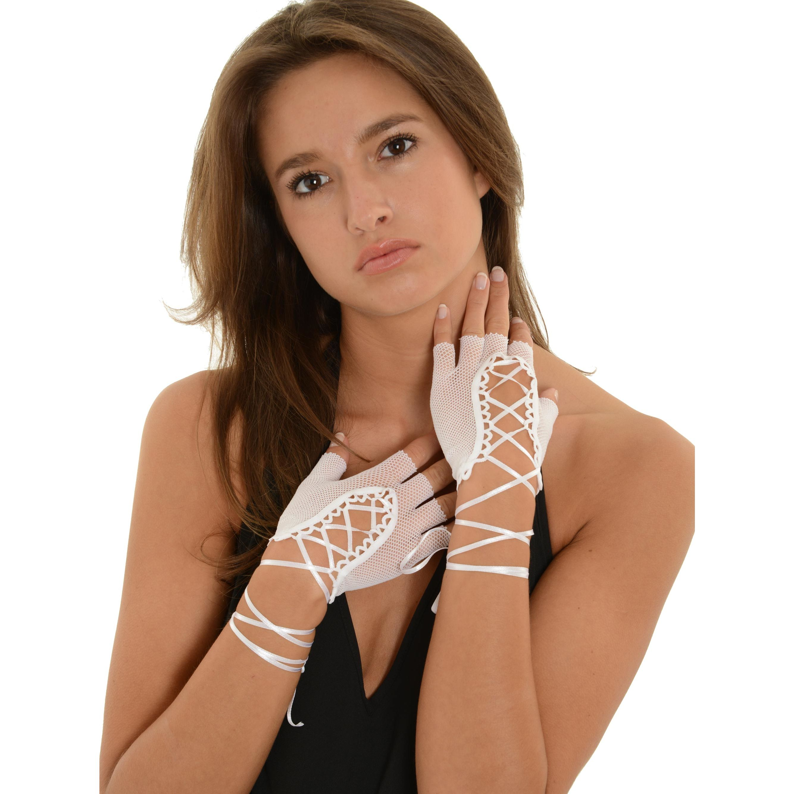 SeXy Lace Up Fishnet Gloves Fingerless 4 Colors White Red Hot Pink or Black